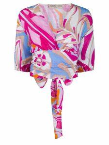 Emilio Pucci Samoa print tie fastening blouse - PINK