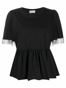 RedValentino point d'esprit mesh-trim blouse - Black