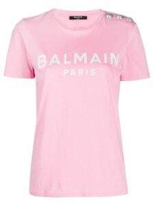 Balmain logo button T-shirt - PINK