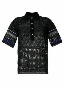Coohem embossed eyelet knit polo shirt - Black