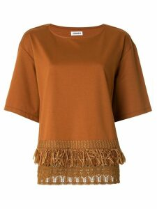 Coohem short sleeve knit detail T-shirt - Brown