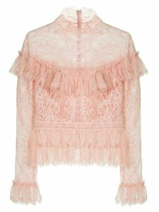 Zuhair Murad ruffle-trimmed lace blouse - PINK