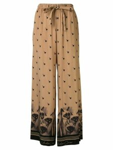 Undercover cat-print wide-leg trousers - Brown