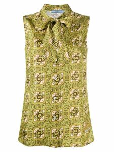 Prada Arabesque print sleeveless blouse - Green