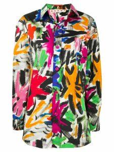 Marni abstract print shirt - ORANGE