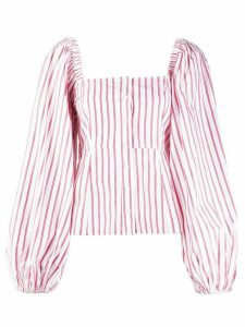 GANNI pouf sleeve striped blouse - White