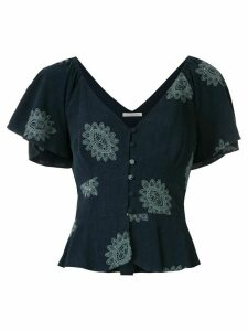Martha Medeiros Mandacaru Greta embroidered blouse - Blue