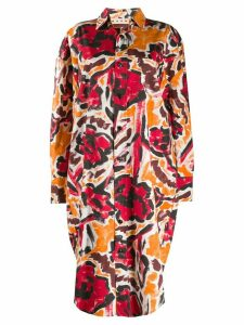 Marni boxy fit floral print shirt jacket - ORANGE