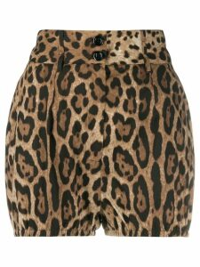 Dolce & Gabbana leopard-print high-waisted shorts - Brown