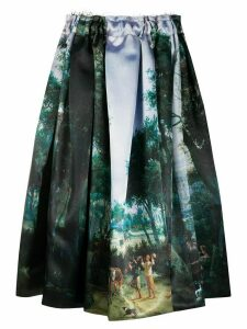 Comme Des Garçons painting print midi skirt - Green