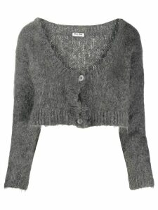 Miu Miu deconstructed cropped cardigan - Grey