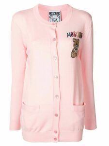 Moschino embroidered beaded Teddy Bear cardigan - PINK