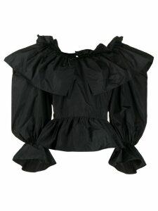 MSGM puffy sleeves ruffled blouse - Black