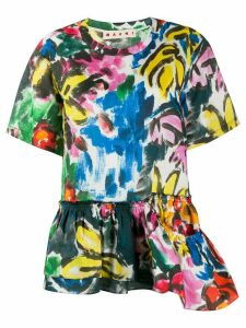 Marni abstract print peplum blouse - Yellow