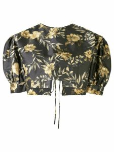 Sir. Carmen floral-print silk blouse - Brown