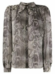 John Richmond snakeskin print gathered shirt - NEUTRALS
