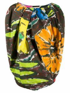 Marni abstract print balloon blouse - Brown