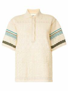 Coohem embossed eyelet knit polo shirt - White