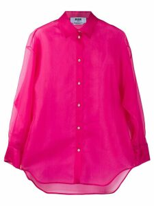 MSGM silk long sleeve sheer blouse - PINK
