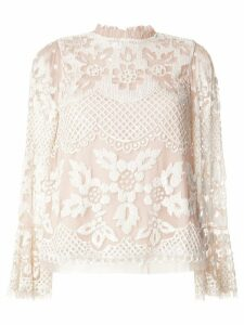 Needle & Thread ruffled neck floral lace blouse - NEUTRALS