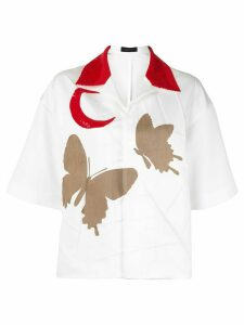 Undercover butterfly-print flared shirt - White