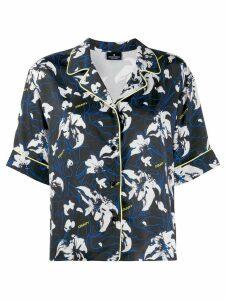 MARCELO BURLON COUNTY OF MILAN flower print short sleeve shirt - Black