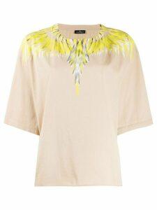 MARCELO BURLON COUNTY OF MILAN feather print cotton T-shirt - NEUTRALS