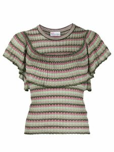 RedValentino draped metallic thread T-shirt - Green