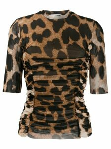 GANNI leopard-print ruched T-shirt - Brown