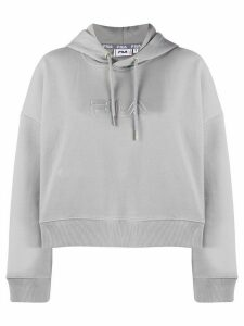 Fila logo embroidered cropped hoodie - Grey