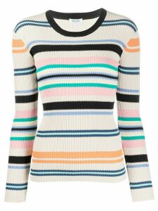 Kenzo striped ribbed knit jumper - NEUTRALS