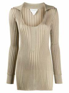 Bottega Veneta scoop neck ribbed long knitted top - NEUTRALS