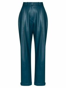 ANOUKI pleated vegan leather trousers - Blue