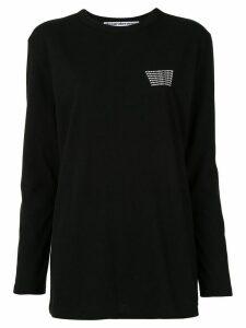 Alexander Wang long sleeve logo print top - Black