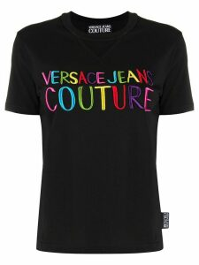 Versace Jeans Couture logo embroidered T-shirt - Black