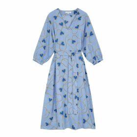 Chinti & Parker Sky-blue Anni Heart Silk-twill Dress