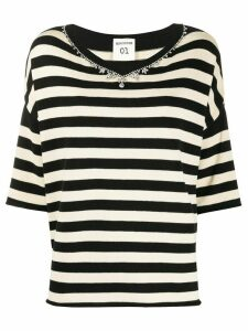 Semicouture striped v-neck jumper - Black