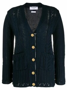 Thom Browne aran cable knitted cardigan - Blue