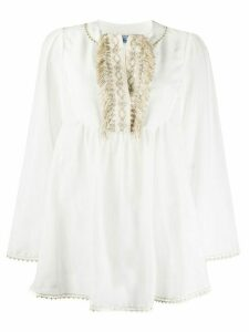 Blumarine embroidered fringe tunic - White