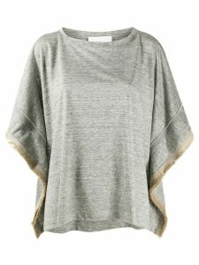 Fabiana Filippi frayed sides T-shirt - Grey