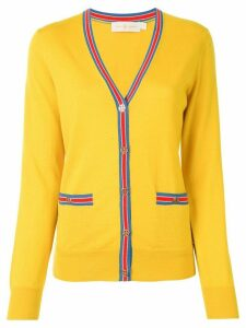 Tory Burch Madeline contrast-trim cardigan - Yellow