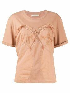 Mes Demoiselles lace-insert contour seam T-shirt - NEUTRALS