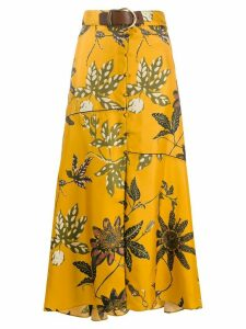 Dorothee Schumacher belted waist floral print silk skirt - Yellow