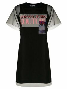 Versace Jeans Couture sheer layered T-shirt dress - Black