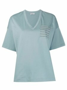 Brunello Cucinelli monili pocket V-neck T-shirt - Blue