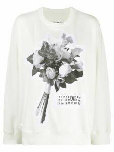 Mm6 Maison Margiela floral bouquet patch sweatshirt - White