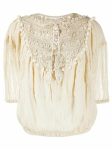 Mes Demoiselles pompom-embellished crinkle blouse - NEUTRALS
