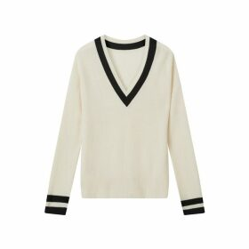 Jigsaw Monochrome Rib V Neck Sweater