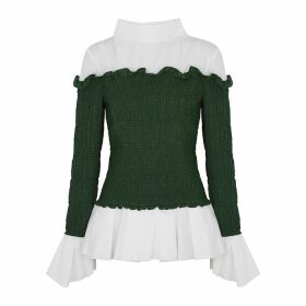 Loewe White And Green Smocked Poplin Shirt
