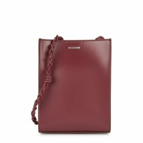 Jil Sander Tangle Small Burgundy Leather Shoulder Bag